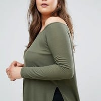 ASOS CURVE Off Shoulder Slouchy Top With Side Splits at asos.com
