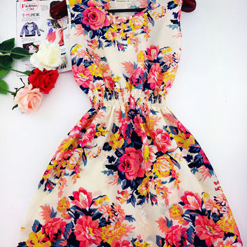 2017 summer autumn Bohemian floral sleeveless dress