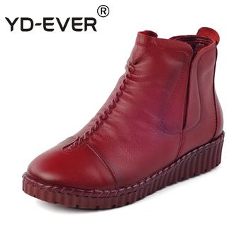 YD-EVER Genuine Leather women boots winter warm fur snow boots Ankle Shoes Vintage retro Casual Shoes Handmade plus size shoes