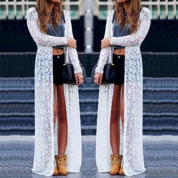2015 Sexy Women Summer Long Dress Floral Print Long Maxi Boho Beach Lace Dress