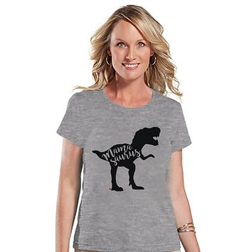 Mamasaurus Shirt - Womens Grey T-shirt - Ladies Dino Tee - Dinosaur Shirt - Mother's Day Gift Idea - Family Outfits - Dinosaur Gift for Her