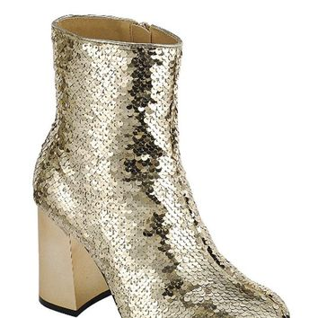 Gold Sequin Ankle Boots