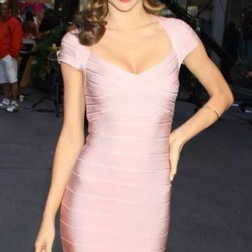 Love Struck Cap Sleeve V Neck Bodycon Bandage Mini Dress - Inspired by Miranda Kerr - 2 Colors Available