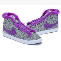 NIKE Women Men Running Sport Casual Shoes Sneakers high tops Plush shoes floral purple
