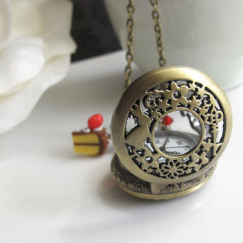 Mad Tea Party. Alice in Wonderland. Rabbit with Pocket Watch. Strawberry Cake. Swarovski Crystal Antiqued Brass Necklace