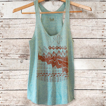 Astral Tepee Tank - womens tri-blend racer back jersey tank top - brown - by Bark decor
