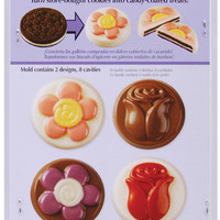 8 cavity cookie candy mold flowers - 2 designs