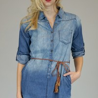 Medium Wash Chambray Button Down Long Tunic