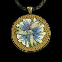 Floral Necklace - Polymer Clay Jewelry - Pendant - Necklace - Art Jewelry - Flower Jewelry - Clay Jewelry - Brass Jewelry