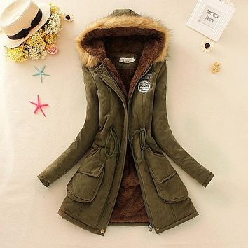 Basic Women Winter Jacket Casual Cotton Hooded Fur Women coats Autumn Clothing Warm Ladies Jackets Coats big size Outwear -80