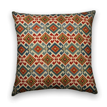 Designer Decorative Pillow Cover-16x16--Duralee Contemporary Accent Pillow--  Dark Blue, Light Blue Red, Gold, Cream.