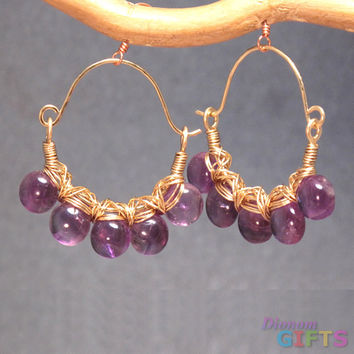 "Amethyst wrapped around hammered ear wires, 1-1/4"" Earring Gold Or Silver"