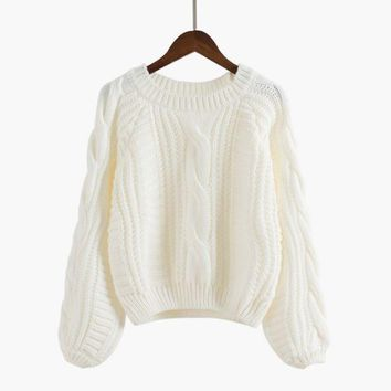 DCCK7XP Long Puff Sleeve Cropped Knit Sweater
