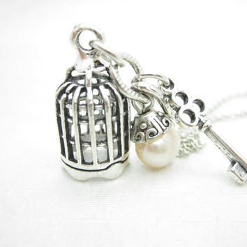 Bird Cage Necklace, Birdcage and Key Charms, Antique Silver Birdcage, 3D Bird Cage, Romantic Necklace, Freshwater Pearl Accent X029