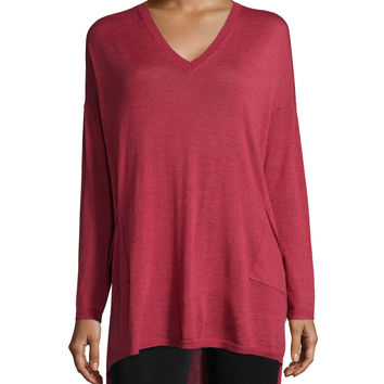 Women's V-Neck Merino Box Top with Pockets, Petite - Eileen Fisher