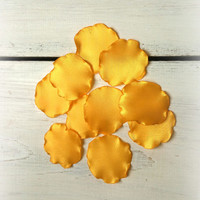 Yellow handmade petals for wedding For scrapbooking Home decor Wedding decor Handmade flower Table decor Petal for brooch hair clips Flower