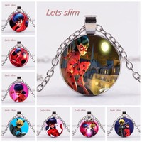 2018 Handmade Miraculous Ladybug Quality Crystal Glass Pendant Necklace Black Cat Kid Cartoon Boy Girl Children Gift Jewelry