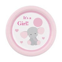 Girl Baby Shower Pink Gray Elephant Sprinkle Party Paper Plate