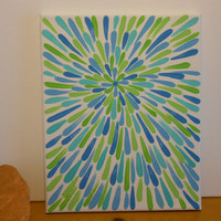 Painting Lime Green and Aqua Flower Aboriginal Inspired by Acires