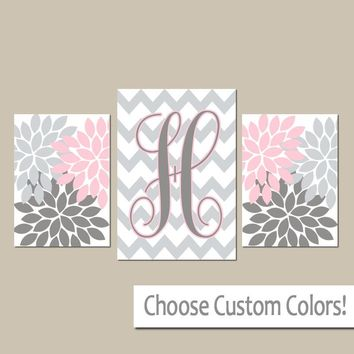Monogram Wall Art, Pink Gray Nursery, Baby Girl Decor, Chevron Initial, Pink Gray Bedroom Pictures, Set of 3, Canvas or Prints Wall Decor