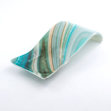 Unique Spoon Rest, Fused Glass, Teal Home Decor, Kitchen Accessories, Pillar Candle Holder, Spoon Holder, Unique Handmade Gift, Swirl Design
