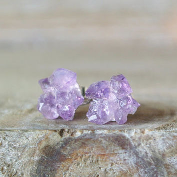 Amethyst Post Earrings. Natural Purple Crystal Stone. Raw Amethyst Studs. Sterling Silver February Birthstone. Raw Rough Amethyst