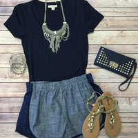 Chambray Terry Side Shorts: Navy