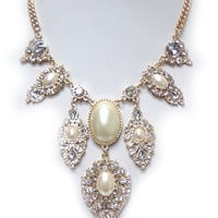 White Teardrop Shape Stones Statement Necklace