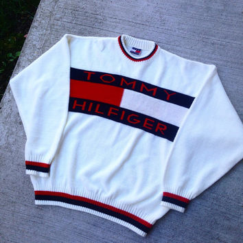 c7c353f9 Vintage 90's Tommy Hilfiger Knit Sweater Big Logo small/medium  sweatshirt