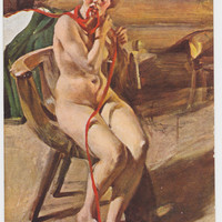 "Antique French Postcard -- A. Zorn ""Naked peasantess combing her hair"" -- 1910?"