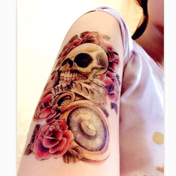 1pc Rose Skull temporary  tattoo*** fake tattoo body art large tattoo big tattoo Fashion Tattoo