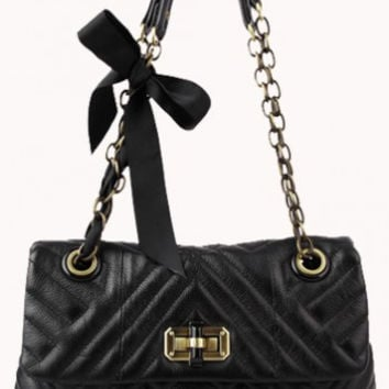 Podium Leather Flap Bag Black