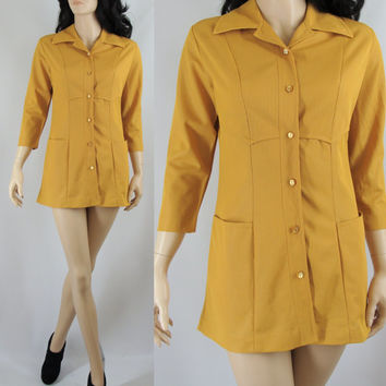 Vintage Mini Dress, Sixties Mustard Micro Mini Mod Dress, Small