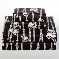 Skull and Bones Sheets |  Skull Bedding at Sin in Linen