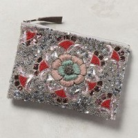 Radiant Bloom Pouch by Anthropologie in Grey Motif Size: One Size Clutches