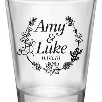 Cactus wedding shot glasses, personalized succulent themed wedding favors