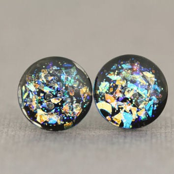 Fake Plugs : Orange, Green and Purple DuoChrome Glass Stud Earrings, Sterling Silver Posts, Opal, Flakie, 12mm, Galaxy Earrings