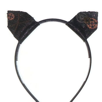 One Size Sexy Cat Ears Black Headband for Roleplay or Halloween Costumes  Leather Steampunk Chain and Gears