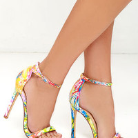 VIP Ticket Multi Print Ankle Strap Heels
