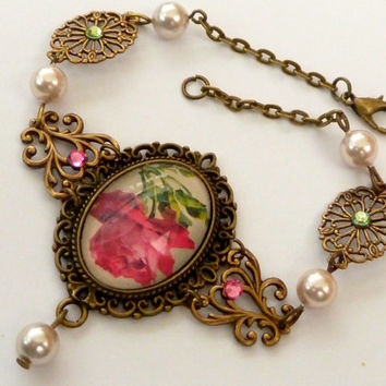 Elegant roses bracelet with brass ornaments and shell pearls, antique bracelets, flower bracelet, pearl bracelets, fine jewelry