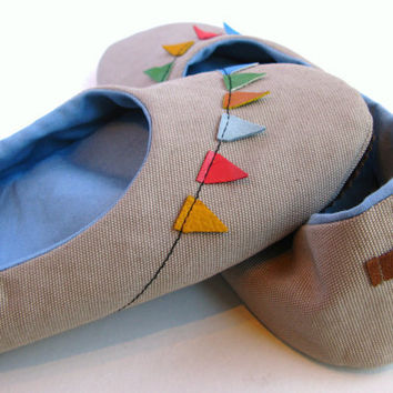 Handmade Oatmeal Cotton Canvas Home Shoes with Leather by askidas