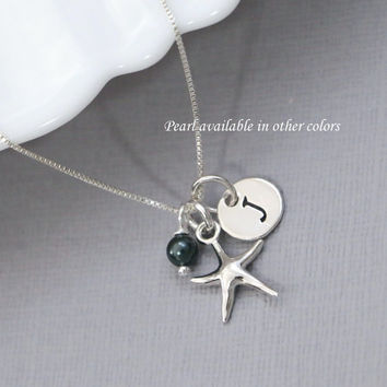 Personalized Beach Wedding Necklace, Sterling Silver Starfish Pendant and Swarovski Pearl on Sterling Silver Necklace Chain, Beach Wedding