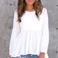 Renata Long Sleeve White Top