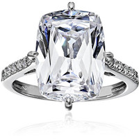 "Platinum-Plated Sterling Silver Celebrity ""Kim"" Ring made with Swarovski Zirconia Accents, Size 6"