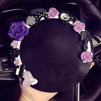 Purple Flower Car Mobile Phone Anti Non Slip Dashboard Mount Mat Holder Pad Stand Sticker