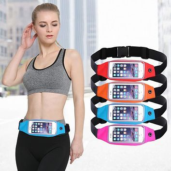 Sports Outdoor Gym Waist Phone Case For iPhone 6 6s For iPhone 7 Plus Card Holder Earphone Hole Belt Running Wallet Bags