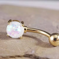 White Opal Gold Belly Button Ring