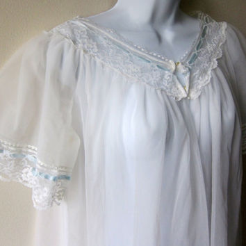 60s White Chiffon & Blue Ribbons -- Medium Length Peignoir Nightgown Dressing Gown -- Retro Pinup, Cult Party Kei Lingere by Radcliffe