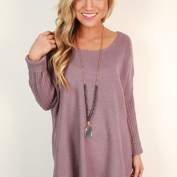 Weekend At The Cabin Tunic Sweater in Dusty Purple