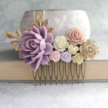 Mauve Floral Hair Comb Lavender Purple Bridal Hair Piece Bridesmaids gift Romantic Wedding Summer Vintage Style Blush Nude Neutral Gold Rose